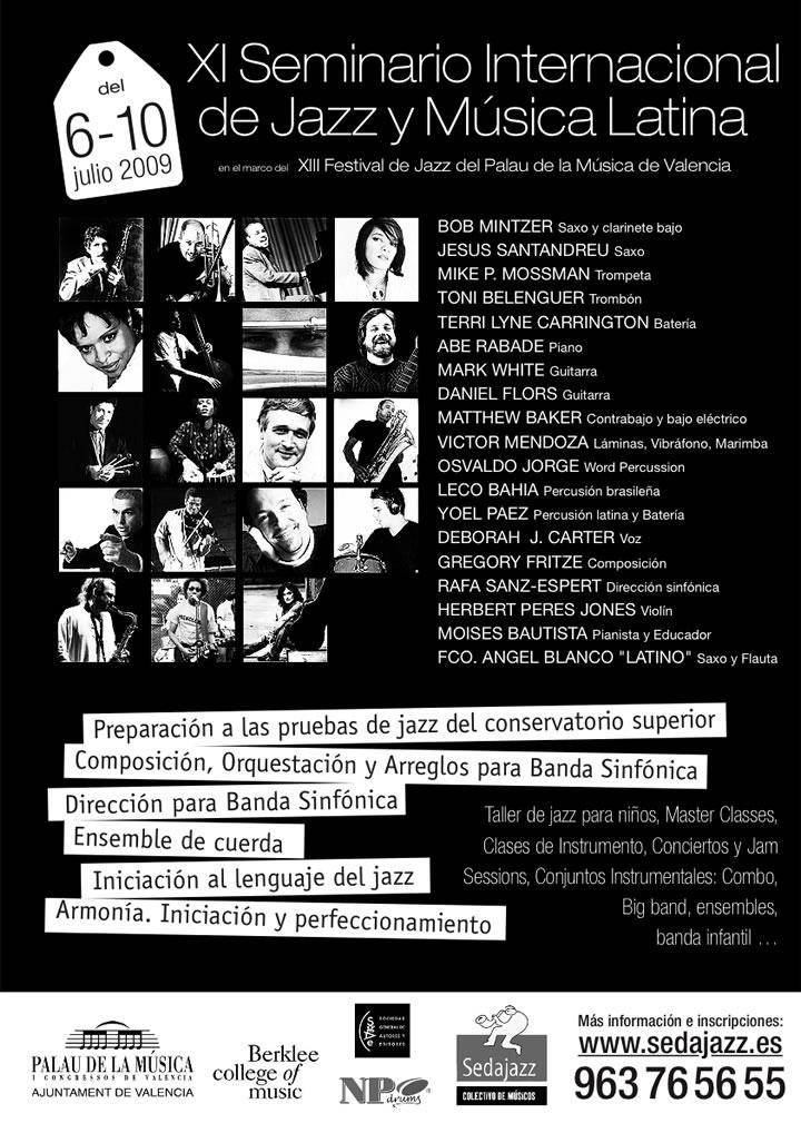 Cartel del Seminario de Jazz - Julio 2009 - Palau de la Música. Organizado por la Sedajazz
