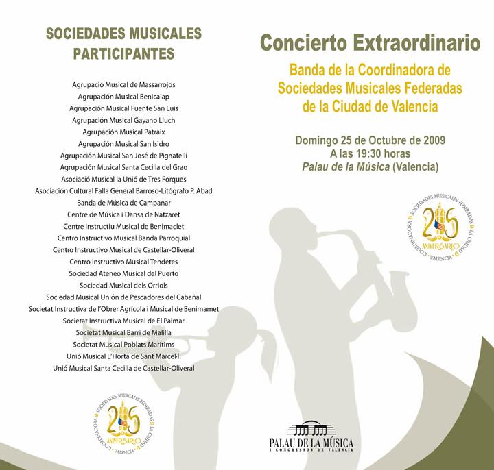 Programa Concierto Extraordinario XXV Aniversario Coordinadora de Sociedades Musicales de la ciudad de Valencia