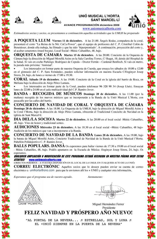 Mes Unió, el boletín informativo de la Unió Musical LHorta de diciembre de 2009