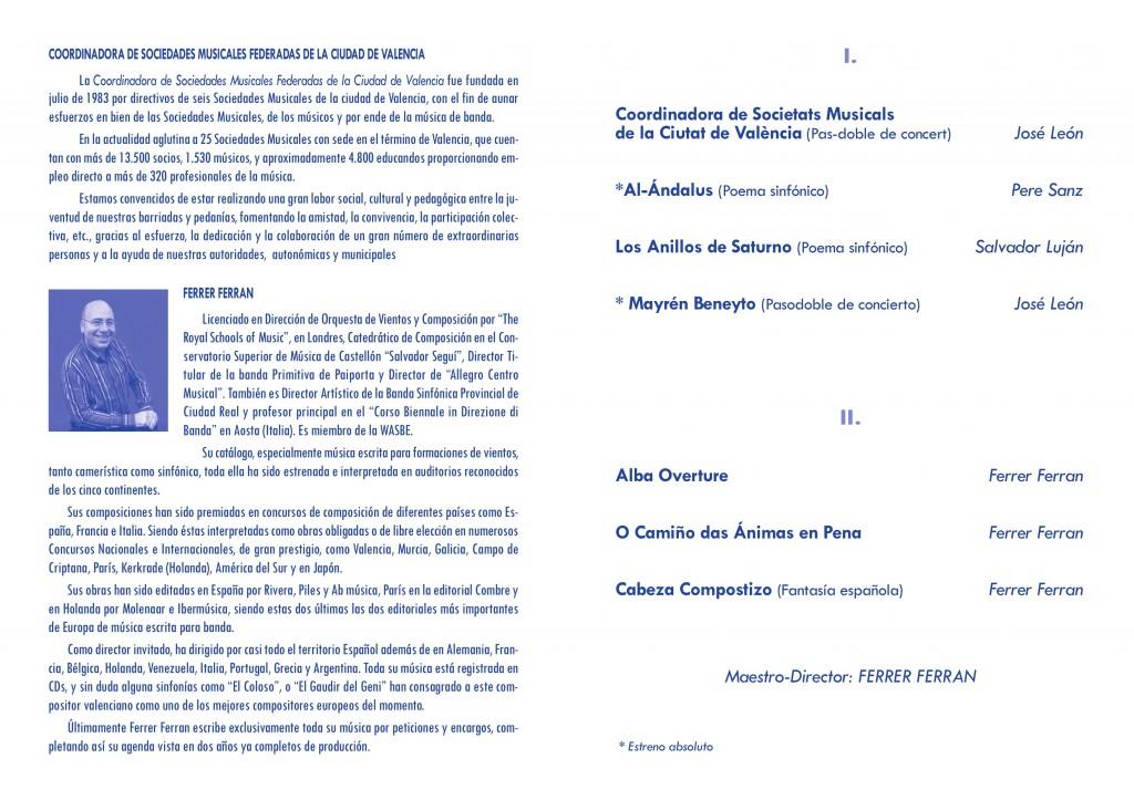 Programa del Concierto Conmemorativo del 25ºAniv. del Palau de la Música de Valencia